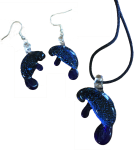 Dichroic Glass Necklace & Earrings Set
