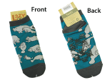 Slipper Socks in Green and Gray NO WAKE ZONE