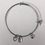 Stainless Bangle with Sterling Manatee Charm