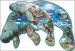 Mom and Calf Manatee Shaped 1,000 Piece Puzzle
