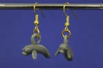 Grey Manatee Glass Earrings