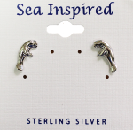 Sterling Silver Manatee Inspired Post Earrings